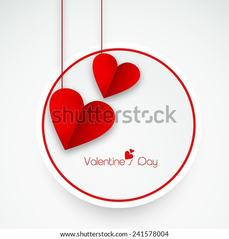 Sticker, tag or label with red hanging love hearts for Happy Valentine's Day celebration. - stock vector