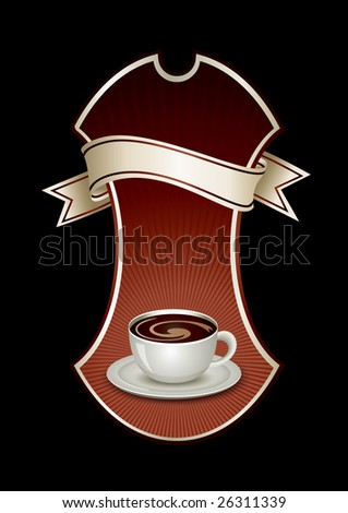 Sticker template with coffee - stock vector