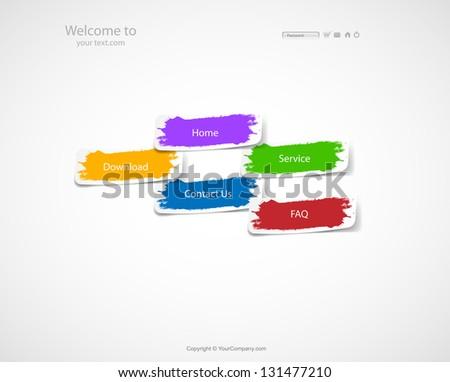 Sticker Website. easy color editable - stock vector