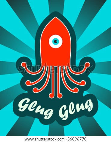 sticker with octopus - stock vector
