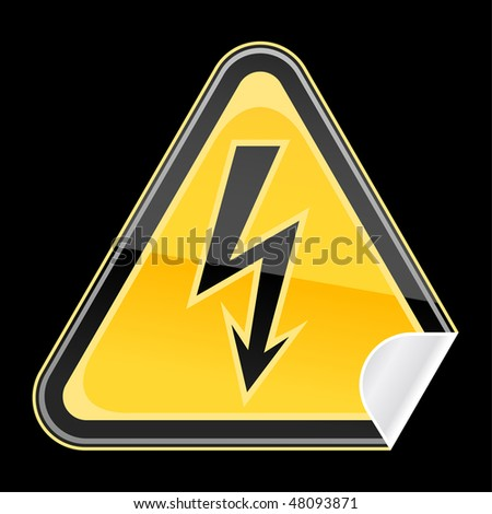 Sticker yellow hazard warning sign with high voltage symbol and curved corner on black background - stock vector