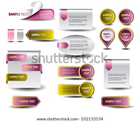 Stickers and banners set. - stock vector