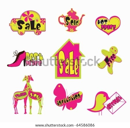 Stickers and Sale Tags - stock vector