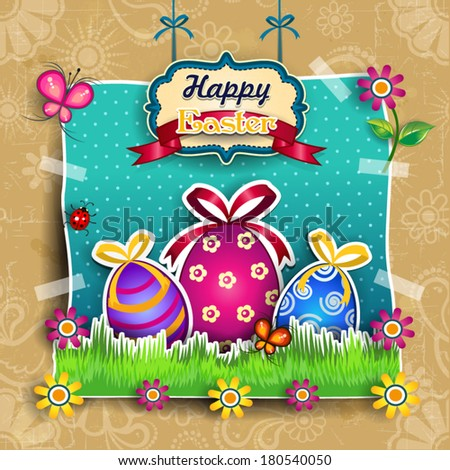 Stickers Easter eggs with sheep pendants mounted like a choreography background decoration-several levels-transparency-blending effects and gradient mesh-EPS 10   - stock vector