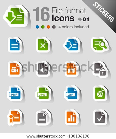 Stickers - File format icons - stock vector