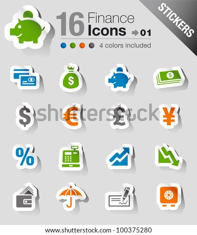 Stickers - Finance and banking icons - stock vector