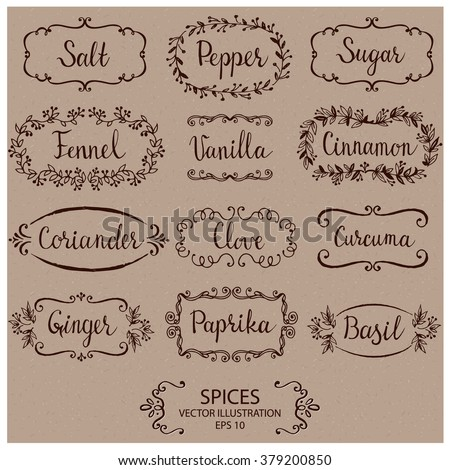 Stickers for spice jars. Hand drawn vector