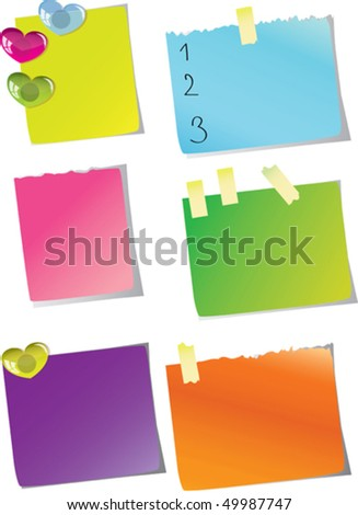Stickers for the notes of different color.