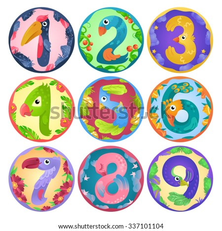 Stickers from numbers like birds in fairy style / There are numbers from one to nine in fairy style like different birds. Each number places separately in round shape with border  - stock vector