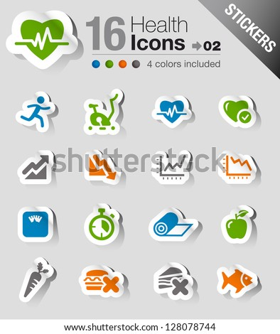 Stickers - Health and Fitness icons - stock vector