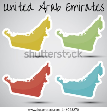 stickers in form of United Arab Emirates - stock vector