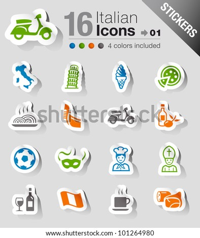 Stickers - Italian Icons - stock vector