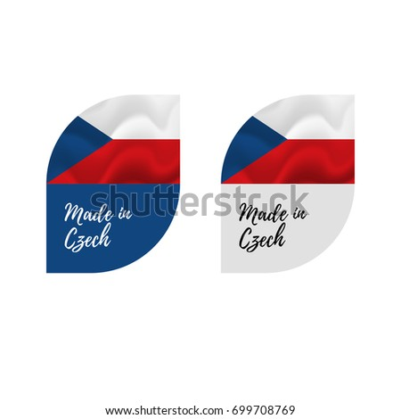 Stickers made in czech republic waving flag isolated on white background vector illustration