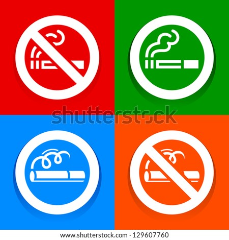 Stickers multicolored - No smoking area sign, vector illustration - stock vector