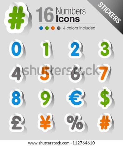 Stickers - Numbers - stock vector