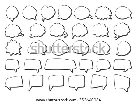 Stickers of speech bubbles  (black set) - stock vector