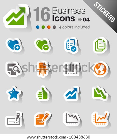 Stickers - Office and Business icons - stock vector