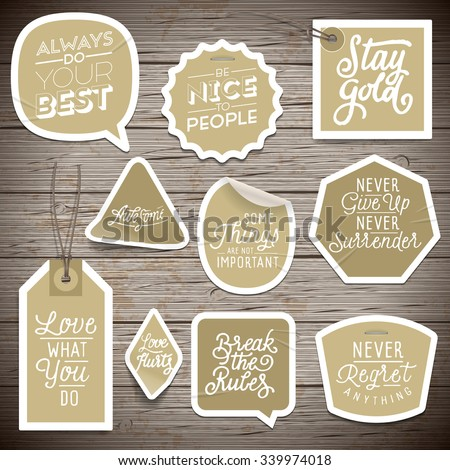 Stickers on rustic wood background. Vector illustration. - stock vector