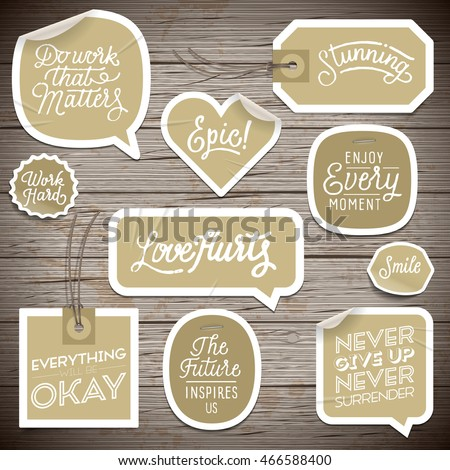 Stickers on rustic wood background. Vector illustration.