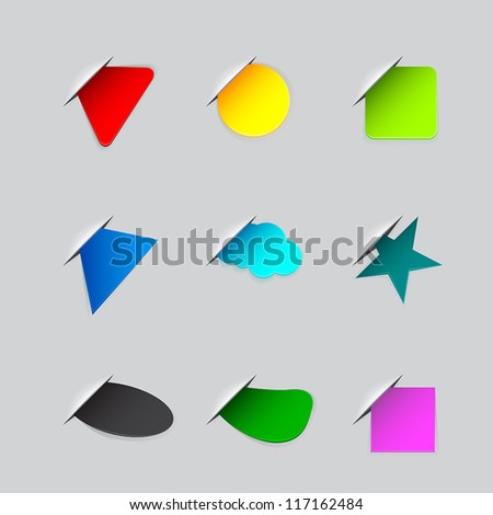Stickers on the edge of the (web) page - stock vector