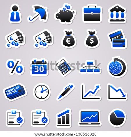 Stickers set: Economic - stock vector
