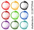 Stickers Set of nine colored stickers on white background - stock vector