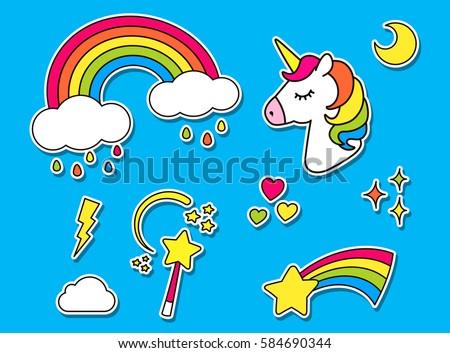 Stickers Set Unicorn Rainbow Star Cloud Stock Vector