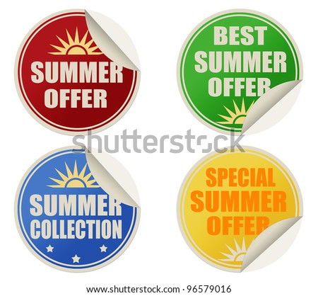 Stickers set with text best summer offers, vector illustration - stock vector