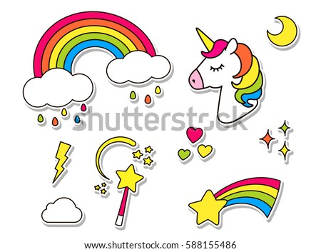 Stickers set with unicorn rainbow star cloud magic wand for girls