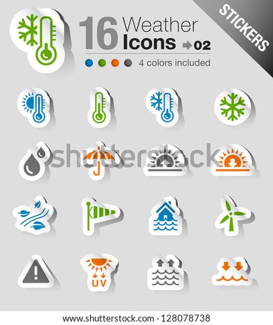 Stickers - Weather Web Icons - stock vector