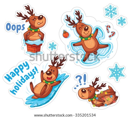 Stickers with Christmas deers. Funny characters set. Vector illustration