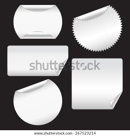 Stickers with corners. Isolated on black - stock vector