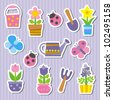 stickers with flowers and ladybugs - stock vector