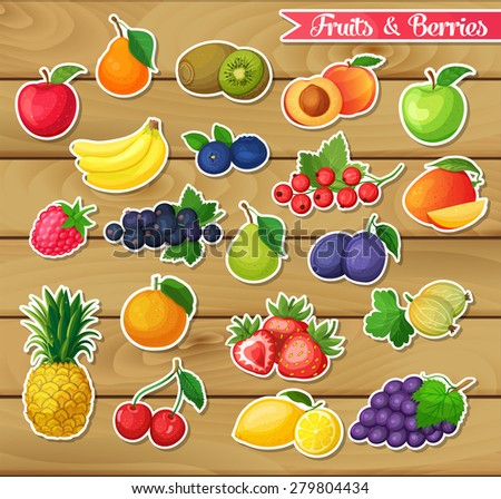 Stickers with fruits and berries on a wooden background - stock vector