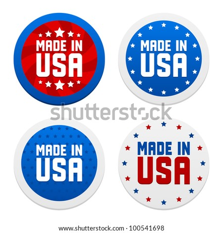 Stickers with Made in USA. Vector illustration. - stock vector