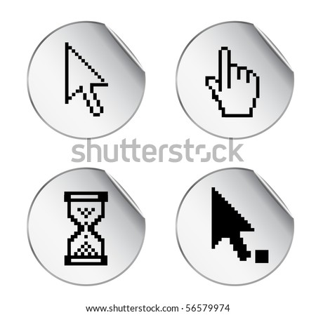 stickers with pixel cursor icon - stock vector