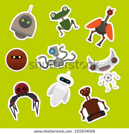 Stickers with robots. Vector illustration.