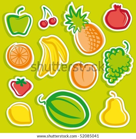 Stickers with sketches of fruit - stock vector