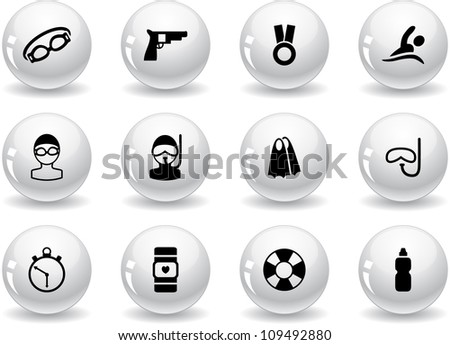 Stickers with swimming icons - stock vector