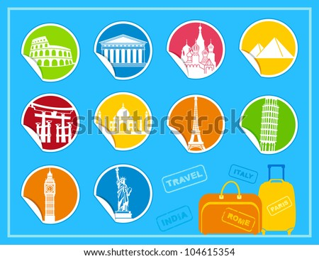 Stickers with symbols of the different countries - stock vector