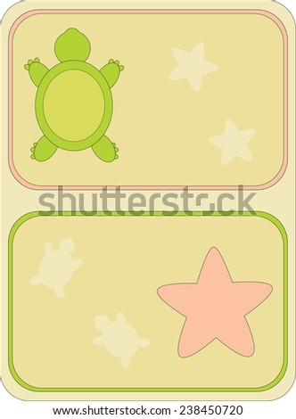 Stickers with the image of a beach subject, a turtle and a starfish - stock vector