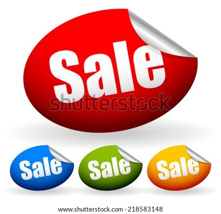 """Stickers with word """"Sale"""" - stock vector"""