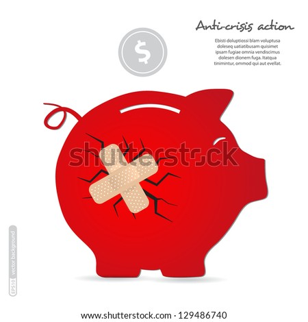Sticking the patch on the piggy bank. Vector. - stock vector