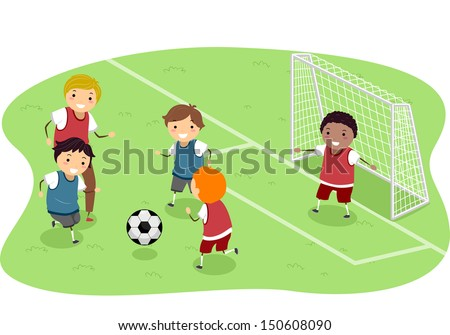 Stickman Illustration Featuring a Group of Boys Playing Soccer - stock vector