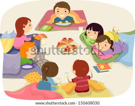stickman illustration featuring kids chatting while stock photo rh shutterstock com stuffed animal sleepover clipart sleepover clipart black and white