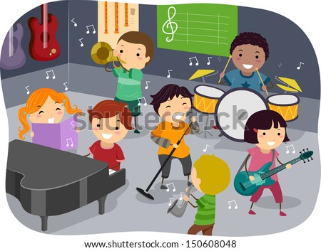 Stickman Illustration Featuring Kids Playing with Different Musical Instruments in a Music Room - stock vector