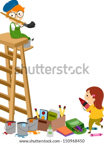 Stickman Illustration Featuring Young Artists Working with Paintbrush and Crayons - stock vector