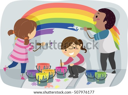stickman illustration of a diverse group of preschool kids painting a colorful rainbow on the wall - Pictures Of Kids Painting
