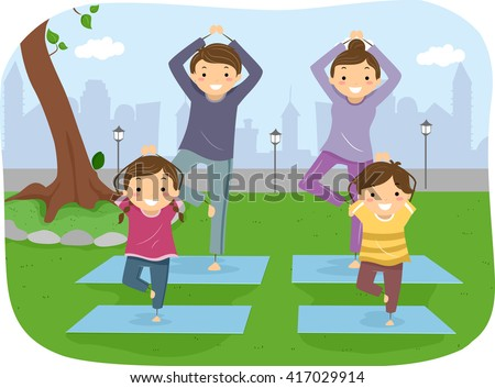 Stickman Illustration of a Family Doing Yoga Together - stock vector