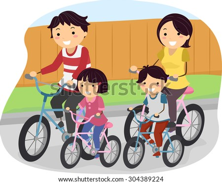 Stickman Illustration of a Family Going for a Ride on Their Bikes - stock vector